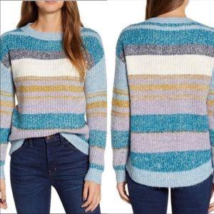 Nordstrom Caslon Small Sweater Stripe Pullover Blue White Purple